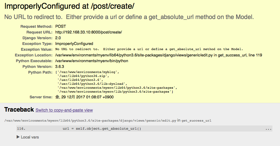 No URL to redirect to. Either provide a url or define a get_absolute_url method on the Model